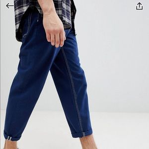 ASOS Skater Fit Jeans in Blue w Contrast Stitching